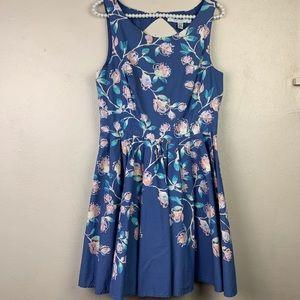 LC Lauren Conrad Blue Floral Dress 12